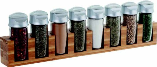 Trudeau 0718081 8 Bottle Bamboo Spice Rack