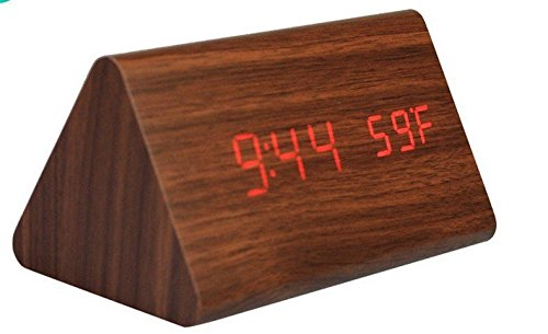 Kabb Wood Grain Led Alarm Clock - Time Temperature Date - Display Sound Activated - Brightness Adjustable (Brown Coating.Red)