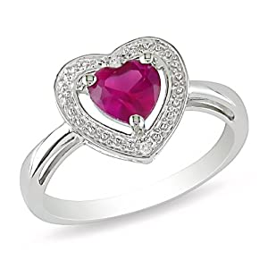 Sterling Silver 1 CT TGW Created Ruby 0.01 CT TDW Diamond Heart Ring (H-I, I3)