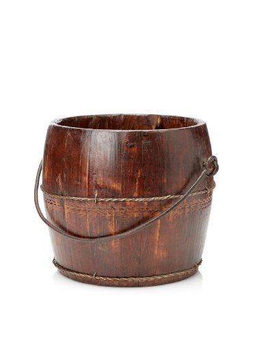 Antique Revival Wooden Kitchen Water Bucket, Natural ...
