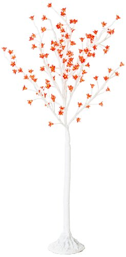 Arclite Nbl-130-4 Cherry Blossom Tree, 4.5' Height, With White Trunk, Red Crystals And Red Lights