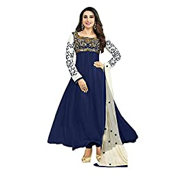 RajLaxmi Women's Fashion Dark Blue Georgette Dress Material