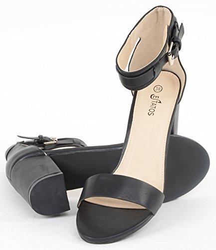Estatos-Matte-Leather-Ankle-Strap-Block-High-Heeled-Black-Sandals