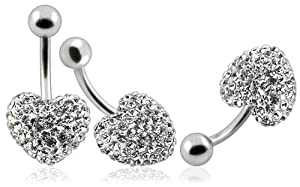 BELLY Heart metal Cap Clear :surgical steelSwarovski crystals belly bar (Special Silicon enamel coated for stones protection) - naval ring titanium grade 23 Nickel free bar length 12mm - hand made with over 100 swarowski crystal , By Frost© London