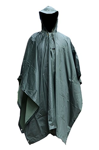 Vcansion Men's Military Multifunction Outdoor Raincoat Poncho for Adults Army Green (Military Rain Pants compare prices)