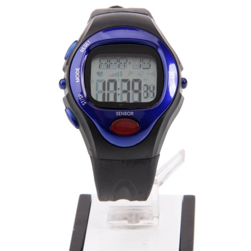 Lcd Waterproof Fitness Sport Pulse Heart Rate Monitor Calories Counter Wristwatches - Best For Men & Women - Running, Jogging, Walking, Gym Exercise, Iron Man, Cycling, Sports - Display Calendar, Time And Timer Alarm (Black + Blue)