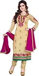 Cool women's Georgette Embroderied Unstitched Dress Material -1024_Beige_Freesize