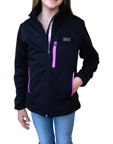 Baviera Girl'S Softshell Lightweight Jacket 10 Black With Pink Zippers