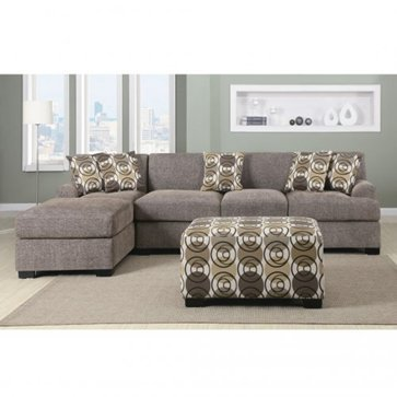 Furniture2go F7450 + F7448 Montereal II Slate Faux Linen Over Sized  Sectional Sofa   Reversible Chaise, Sofa, 4 Accent Pillows