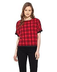 Saiesta Women's Red And Black Checks Kimono Style Top