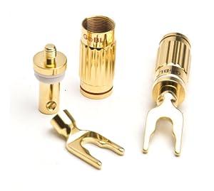 G&BL HPFQ92 4 connecteurs cosses à fourches pour enceintes Max 8mm B/R