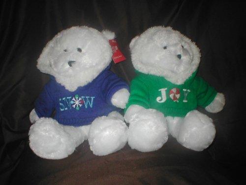 Christmas Holiday White Plush Teddy Bear wearing