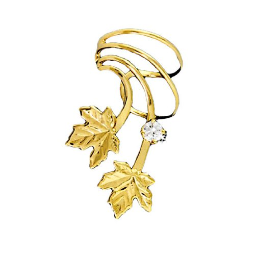 Left Only Gold Vermeil Pierceless Maple Leaves Ear Cuff