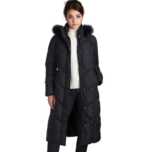 Jessie G. Women's Long Hooded Down Parka Coat with Fox Fur Trim - Black S