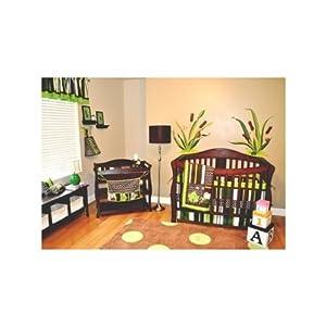 Sunbeam Premium Heated Mattress Pad 10pc Frog Nursery Crib Bedding Set Brown & Green - Pollywog Pond - 62G ...