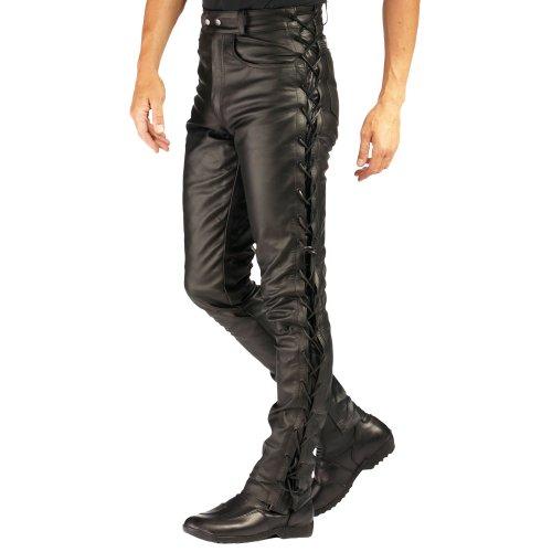 Roleff Racewear Pantaloni in Pelle con Allacciatura Laterale, Nero, 44