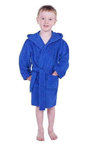 Kids' Hooded Terry Cloth Bathrobe (Dazzling Blue, Medium) Kb0101-Dzb-M front-202713