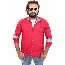 Guugu Men's Chinese Collar Casual Shirt (GUUGMS142_Red) (Small)