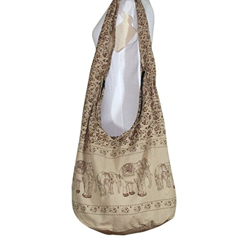 Thai Art Hippie Elephant Sling Crossbody Bag Purse Thai Top Zip Handmade New Color Light Brown.