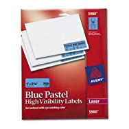 High-Visibility Laser Labels, 1 x 2-5/8, Pastel Blue, 750/Pack