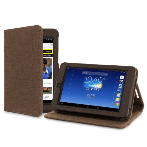 """Cover-Up Version Stand"""" Kakao Braune Natürliche Hülle aus Hanf mit Mehrfachansicht für Asus MeMO Pad HD 7 ME173X (7-zoll) Tablet"""