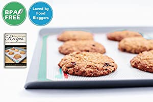 Non-Stick Professional Silicone Baking Mat Set (2 Pack)-1 Premium Baking Sheet Liner & 1 Premium Cookie Sheet Mat-LOVED BY FOOD BLOGGERS!