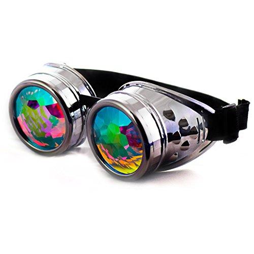 Dem Vibes Kaleidoscope Goggles for Raves – Steampunk Rainbow Lens (Chrome)