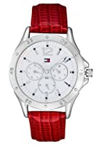 Tommy Hilfiger White Dial Red Leather Ladies Watch 1781323