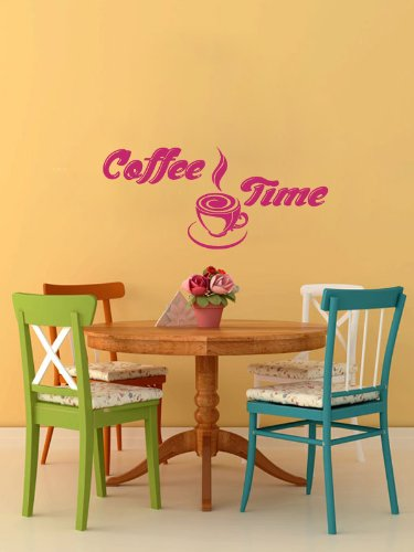 Housewares Vinyl Decal Coffee Time Cup Beans Quote Home Wall Art Decor Removable Stylish Sticker Mural Unique Design For Room Kitchen Coffee Shop Cafe