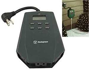 westinghouse 3 outlet outdoor heavy duty digital photocell. Black Bedroom Furniture Sets. Home Design Ideas