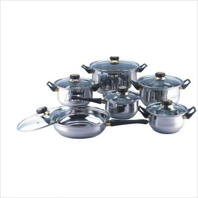 Gourmet Chef 12-Piece Cookware Set with Clear Glass Lids, Black Bakelite Handles and Knobs