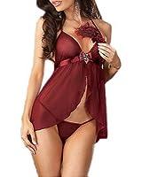 ENSEMBLE LINGERIE NUISETTE Sous-vêtements sexy pour les femmes, les femmes babydoll lingerie avec G-String rouge Taille 38