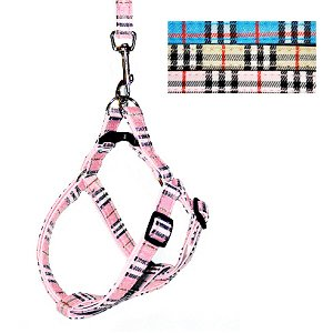 HOW'S YOUR DOG Oxford Easy Step-in Nova Plaid Padded Dog Harness & Leash Set - Pink / Small (12