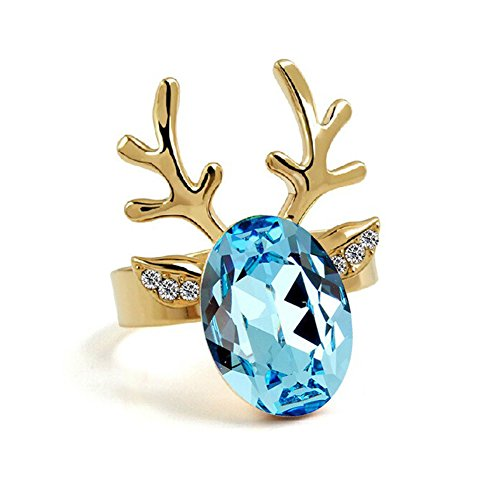 Christmas Reindeer Crystal Free Size Finger Rings Cute Deer Head Gold Plate Colorful Rhinestone Ring Ladies Fashion Jewelry Holiday Birthday Mother Day Gifts, Awesome Cute Pink Purple Blue Crystal Deer Rings (Blue)