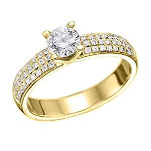 GIA Certified 14k yellow-gold Round Cut Diamond Engagement Ring (1.42 cttw, D Color, VS1 Clarity)