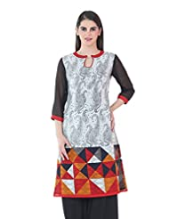 Fashion205 Red And White Printed Georgette Long Kurti - B00X3HPB24