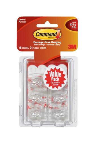 Command Mini Hooks Value Pack, White, 18-Hook