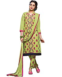Kmozi New Light Parrot Payal work Semi Stiched Dress Material