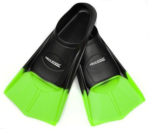 AQUA SPEED® HIGH TECH kurze Trainingsflossen Schwimmtraining Kurzflossen Gr. 33-48, Modell:schwarz/neon-grün/38;Größen:39/40