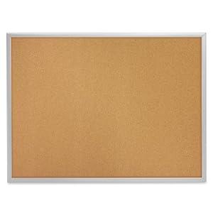 QUARTET Cork Bulletin Board, Natural Cork/Fiberboard, 24 x 18, Aluminum Frame (Case of 3)
