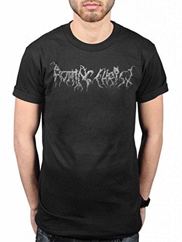 Official Rotting Christ Kata Ton Diamona Eaytoy-Maglietta, colore: nero metallo, con motivo a greca, chiropoti Tolis nero Medium