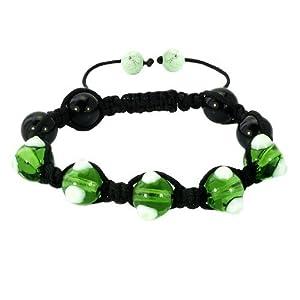 Pugster Fad Macrame Bling Jewelry Pale Green Evil Eye Beads Adjustable Shamballa Bead Bracelet