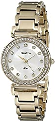 Armitron Women's 75/5259SVGP Swarovski Crystal Accented Gold-Tone Bracelet Watch