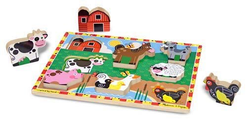 Melissa & Doug Farm Wooden Chunky Puzzle Cute Gift For Everyone Fast Shipping back-349058