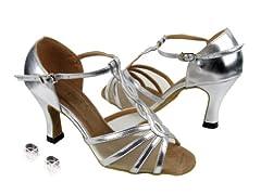 Very Fine Ladies Women Ballroom Dance Shoes EK1692 Silver Leather & Flesh Mesh 2.5