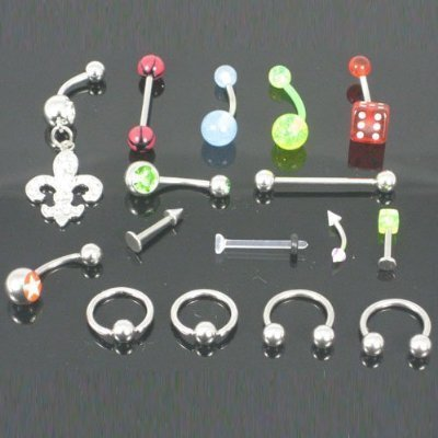 Lot 10 Pieces Body Jewelry (Belly Button Navel Ring Tongue Labret Eyebrow Chin)