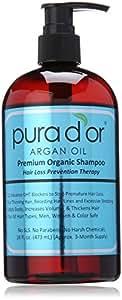 Pura d'or Hair Loss Prevention Premium Organic Shampoo, Brown and Blue, 16 Fluid Ounce