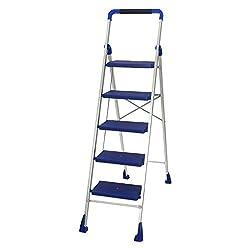 Cipla Plast Folding Aluminium Ladder - Hi Tech 5 steps + Free 14 Pcs Multipurpose Buffers - GEC-L5H