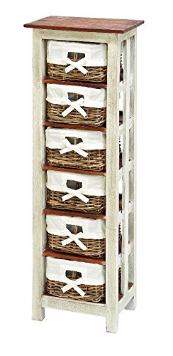 Woodland Imports Shabby Rattan Wood 6 Drawer Cabinet front-1007790