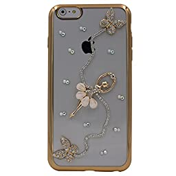 iPhone 6S Plus Case, Transwon TPU Bling Rhinestones Pearl Butterfly Ballet Girl Case for Apple iPhone 6 Plus / iPhone 6S Plus 5.5 Inch (Gold)